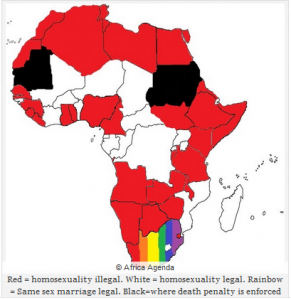 An map showing the places where Gay Marriage is allowed or for outlawed in Africa