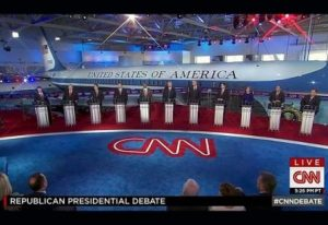A slate of GOP presidential candidates line up to debate